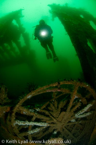 Diver on wreck of the SS James Eagan Layne