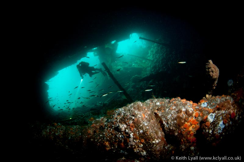 Diver inside the Tarbaka, Scapa Flow, Scotland